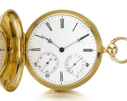 135. czapek & cie, à genève   a rare and interesting gold hunting cased watch with indication for day combined with 8-day power reservecirca 1850,no. 3430