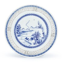 11. a reticulated blue and white 'landscape' dish qing dynasty, 19th century |