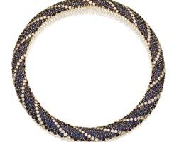 9. 18 karat gold, sapphire and diamond necklace, cartier