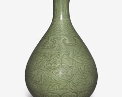 102. a finely carved 'longquan' celadon-glazed 'peony' bottle vase, yuhuchunping ming dynasty, hongwu period |