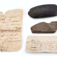 254. two tahitian adze blades, together with two accompanying written documents, one by w.s. davidson, canton, dated 1819 |