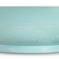 8. a rare carved pale turquoise-enameled 'kuilong' bowl yongzheng mark and period