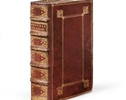 106. marot. les œuvres... lyon, etienne dolet, 1543. deux parties en un volume in-8. maroquin rouge orné à la du seuil.