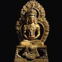 320. 清乾隆辛巳年(1761年) 銅鎏金無量壽佛坐像 《大清乾隆辛巳年敬造》款  