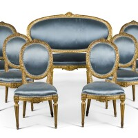 46. a suite of northern european louis xvi style carved giltwood seat furniture, mid-19th century