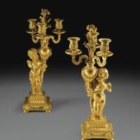 138. paire de candélabres en bronze doré d'époque louis xvi, vers 1780