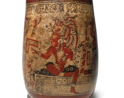 46. large maya polychrome vessel with deities, late classic, ca. a.d. 550-950