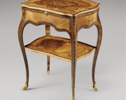 12. a tulipwood, amaranth and marquetry table à écrire stamped i. p. latz louis xv, mid 18th century