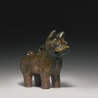 161. a green-glazed pottery figure of a dog eastern han dynasty
