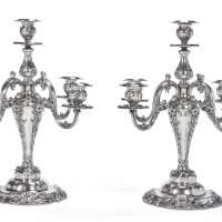 20. a pair of american silver five-light candelabra, reed & barton, taunton, ma, early 20th century |
