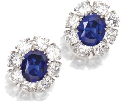 209. pair of sapphire and diamond earclips