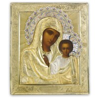 28. a russian icon of the kazan mother of god, moscow, circa 1910