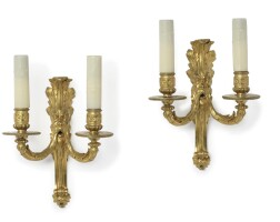 4. a pair of louis xvi twin-branch ormolu wall lights circa 1765