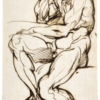 314. agostino carracci | a seated bearded male nude supporting his head with his right hand