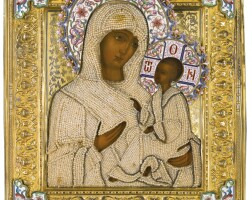 698. a silver-gilt, seed pearl and enamel icon of the tikhvinskaya mother of god, ivan alekseev, 1899-1908