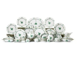 7. a herend 'chinese bouquet green' coffee, tea and part dinner service 20th century