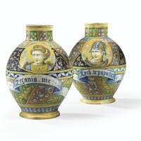 5. paire de vases en majolique italienne de faenza du xvie siècle, vers 1560-80