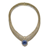 36. sapphire and diamond necklace