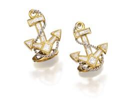 13. pair of 18 karat gold, platinum and diamond cufflinks