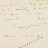 "309. wilde, oscar. autograph manuscript being one quatrain of the poem ""requiescat"". nd."