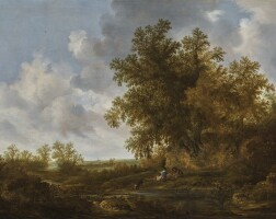 109. jacob van mosscher   a couple resting beneath tall trees on the bank of a pond