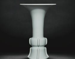 7. a fine and rare ru-type beaker vase, gu qianlong seal mark and period