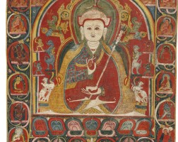 731. a thangka depicting padmasambhava western tibet, 14th century