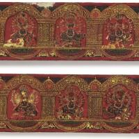909. a pair of wood and polychrome durga mahishasuramardinibook covers nepal, circa 17th century |