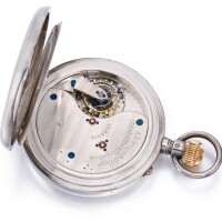 23. a. lange & söhne, glashütte   anexceptional and very rare silveropen-faced keyless 1a qualityone minute tourbillon watch with spring detent chronometer escapement and up-and-down indicationcirca 1924, no. 82013
