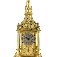 10. 德國製 | 鎏金「turmchenuhr」座鐘備鬧鐘,年份約1600,後有改動