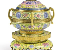 3619. a magnificent beijing enamel yellow-ground 'dragon and phoenix' tiered vessel, cover and stand mark and period of qianlong