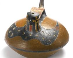 2. paracas polychrome bridge-spout effigy vessel, ocucaje style, late paracas, ca. 300-100 b.c.