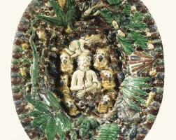 10. plat ovale en terre vernissée de la suite de palissy du début du xviie siècle