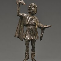 7. a roman bronze figure of a lar, circa 2nd century a.d. | a roman bronze figure of a lar