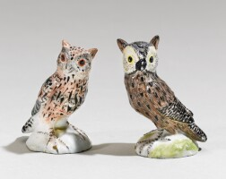 31. two meissen miniature figures of owls circa 1745