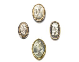 10. collection of four miniature mourning brooches, late 18th century