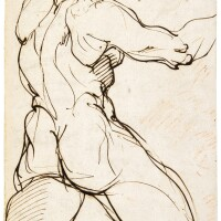 316. agostino carracci | study of a standing bearded male nude seen from behind, his right arm extended