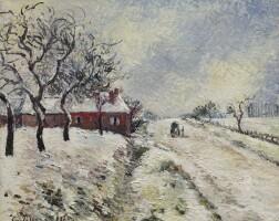 154. camille pissarro | route enneigée avec maison, environs d'eragny
