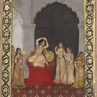 83. a princess seated in an interior, possibly desavarati ragini, attributable to mihr chand, india, oudh, circa 1770