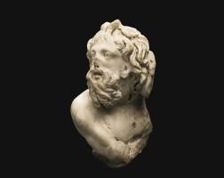 54. a roman marble sarcophagus relief bust of a sea centaur, 2nd quarter of the 3rd century a.d. | a roman marble sarcophagus relief bust of a sea centaur