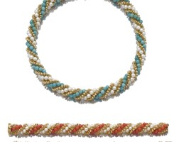 1. pair of cultured pearl, turquoise and coral necklaces / bracelets, 'twist', van cleef & arpels, 1960s