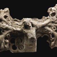 3045. a limestone boundary cross fragment catalonia or eastern castile, spain, early 15th century  