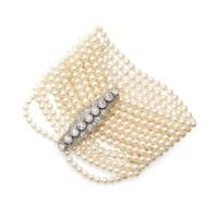 41. cultured pearl and diamondbracelet