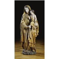 206. a south german polychrome painted and parcel-gilt limewood figure of the virgin and child, probably bavarian baroque, 18th century