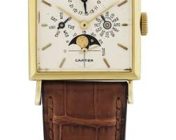 73. 愛彼(audemars piguet)   零售商為卡地亞:黃金全日曆腕錶備月相顯示,為摩洛哥國王哈桑二世製造,年份約1964。