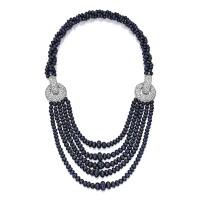 172. 18k白色黃金鑲藍寶石配鑽石項鏈