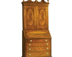 381. a chippendale inlaid and figured walnut desk-and-bookcase, mid-atlantic states, circa 1790