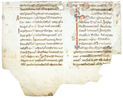 1. 'bari' type beneventan script and decoration from a homilary [southern italy or dalmatia, 11th century]