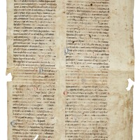 5. a leaf from grand romanesque lectern bible, in latin [france (or england?), early 12th century]