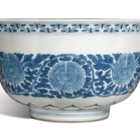 606. a fine blue and white 'peony' bowl daoguang seal mark and period |